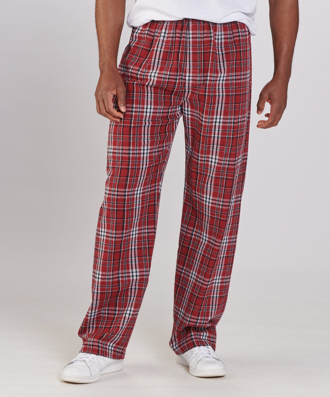 GUYS & CO. - Men's Maroon Plaid Flannel Pants