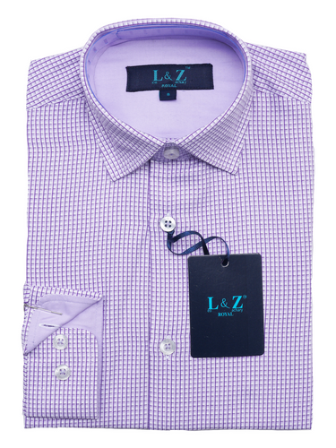 LEO & ZACHARY - Boys Dress Shirt Lavender Checks 5775 - Guys and Co.