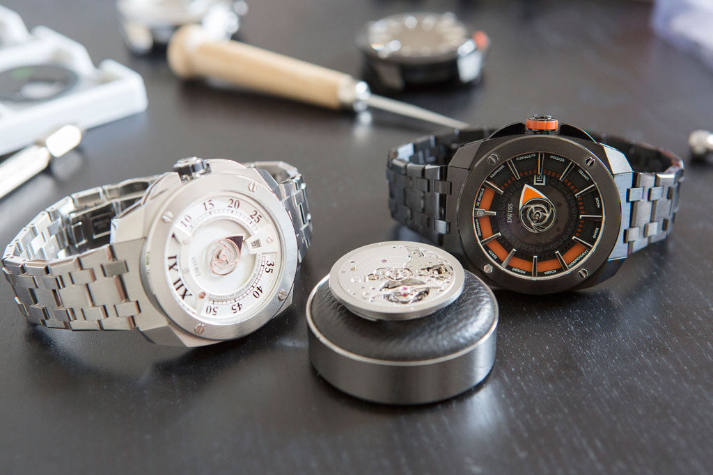DWISS automatic timepieces with a tourbillon concepto 8950 in the front