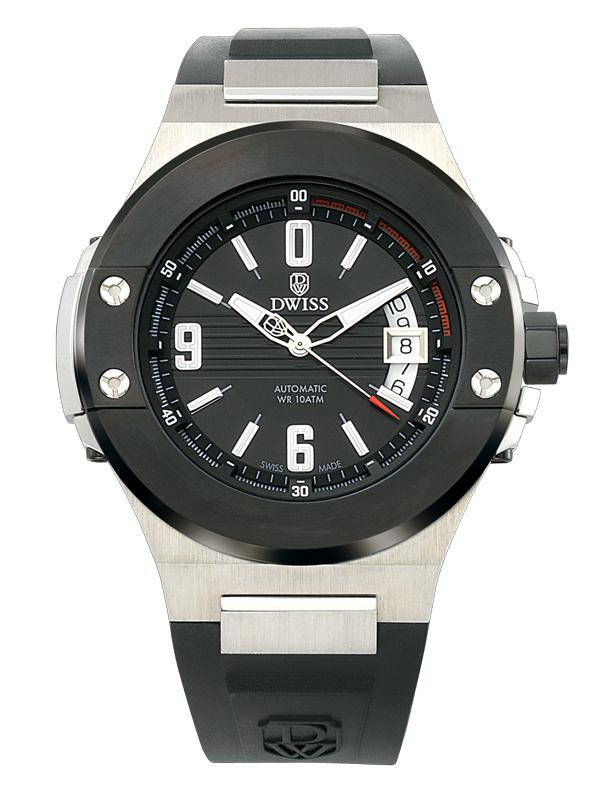 DWISS M1 Silver Black - Limited Edition, Design Awarded Luxury Swiss Made Watches With Innovative Time Reading Systems