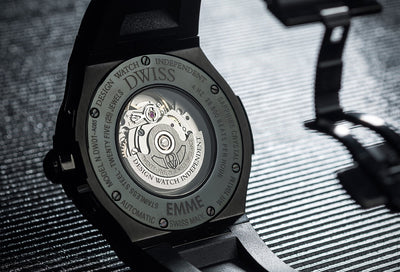 DWISS M1 All Black Limited Edition and design awarded Luxury Swiss Made Watches With Innovative Time Reading Systems