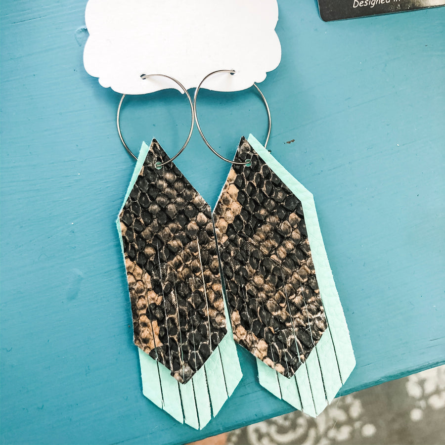 Mint and snake fringe earrings