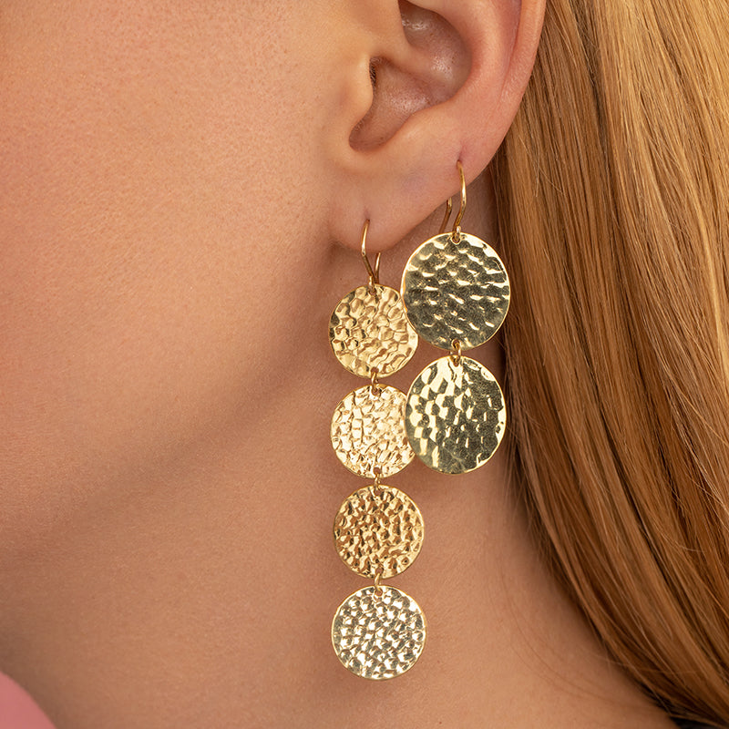 4 Mini Hammered Disc Drop Earrings
