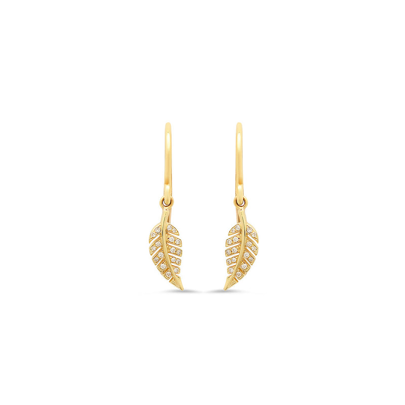 Diamond Mini Leaf Drop Earrings