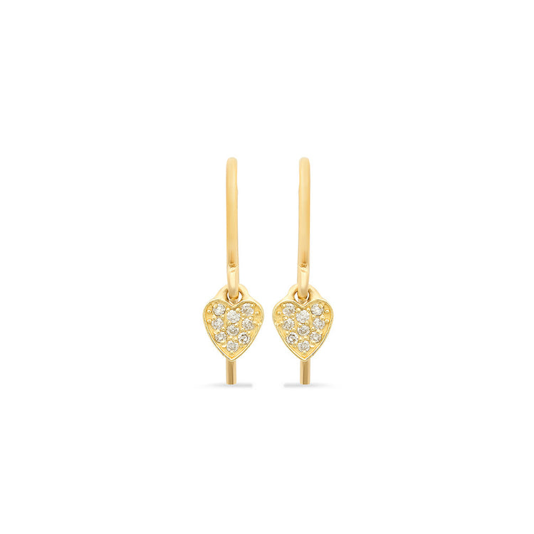 Diamond Mini Heart Drop Earrings