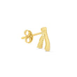 Single Yellow Gold Diamond Wishbone Stud