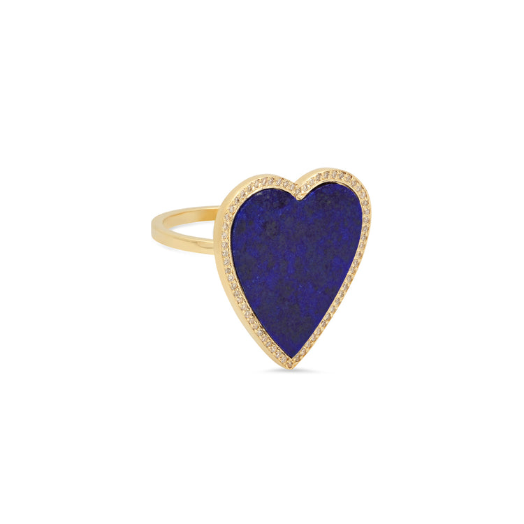 Lapis Inlay Large Heart Ring with Diamonds