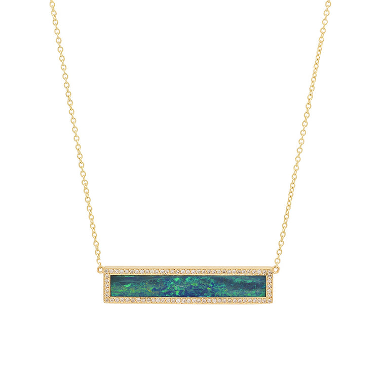 Blue Boulder Opal Inlay Bar Necklace with Diamonds