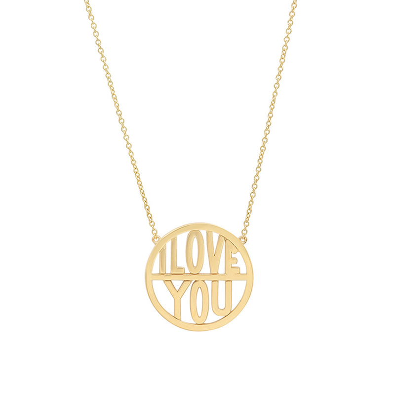 I Love You Disc Necklace