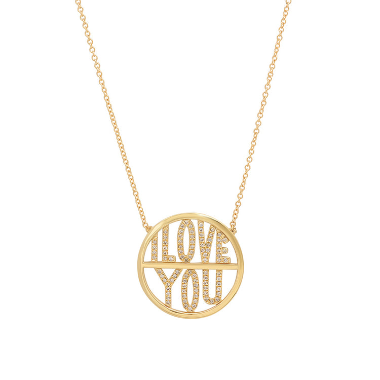 Diamond 'I Love You' Disc Necklace