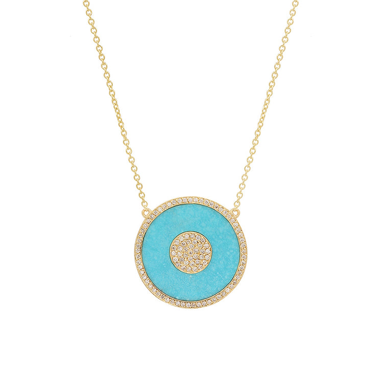 Turquoise and Diamond Inlay Evil Eye Necklace