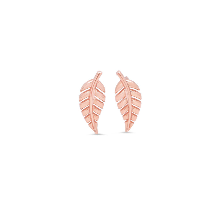 Rose Gold Mini Leaf Studs