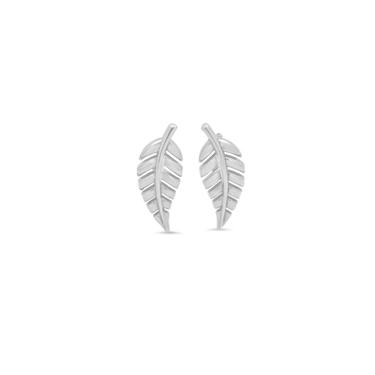 White Gold Mini Leaf Studs
