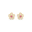 Diamond Flower Studs with Pink Sapphire Center