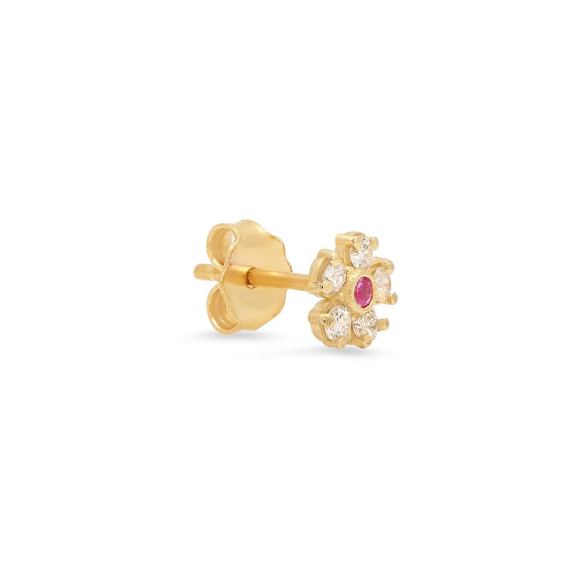 Single Diamond Flower Stud with Pink Sapphire Center