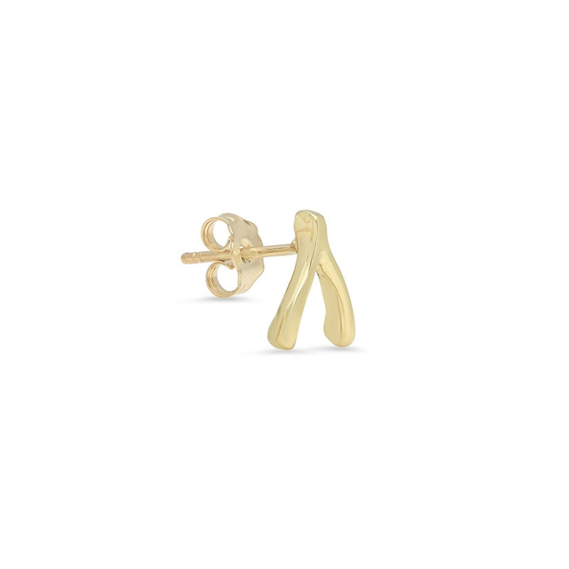 Single Yellow Gold Wishbone Stud