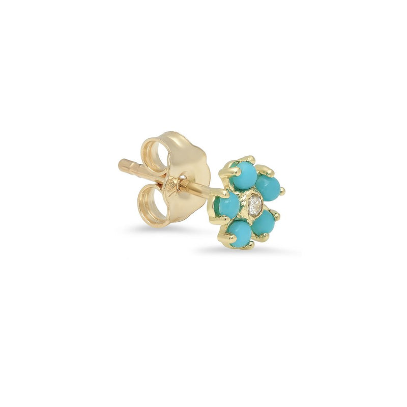 Turquoise Large Flower Studs with Diamond Center