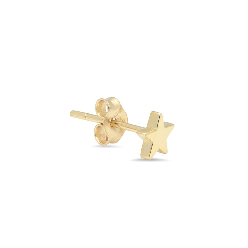 Single Yellow Gold Mini Star Stud