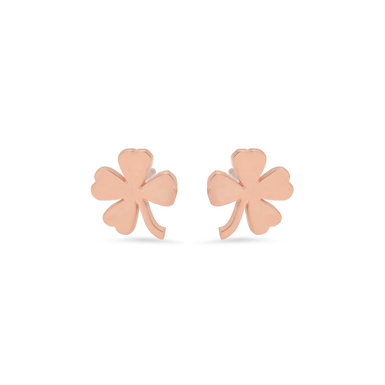Rose Gold Mini Clover Studs