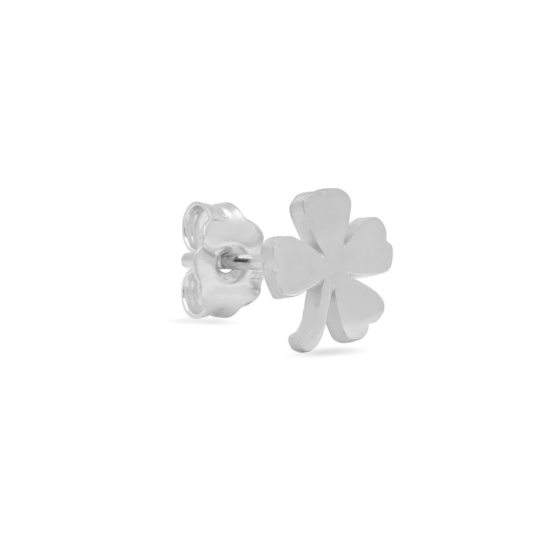 White Gold Mini Clover Studs