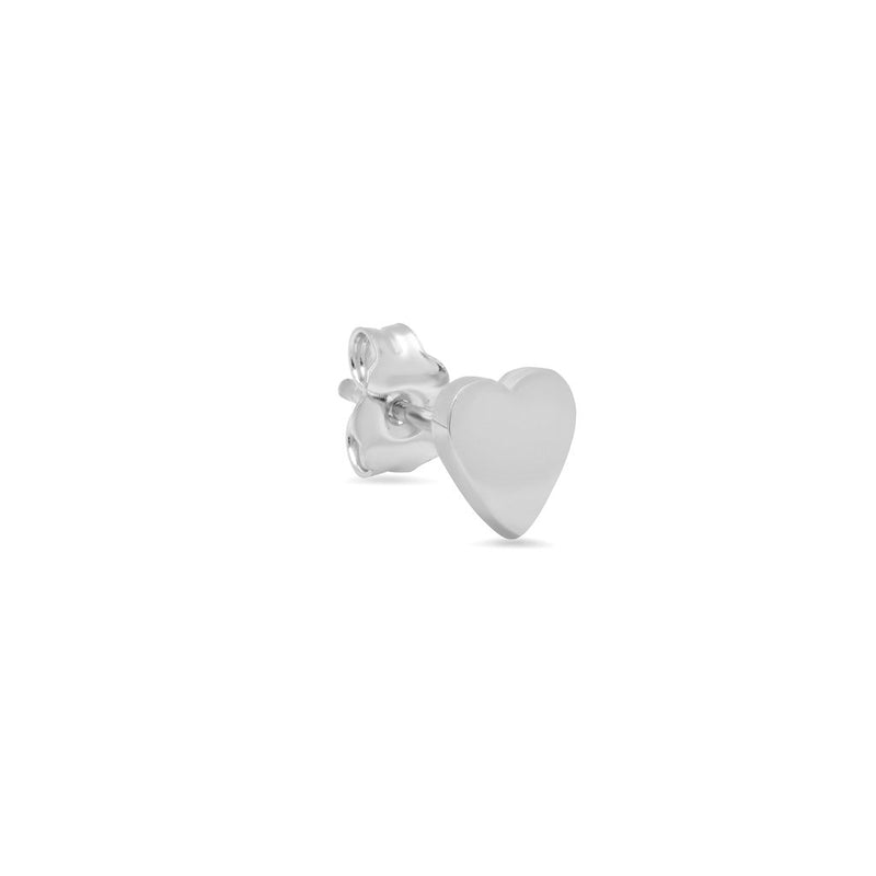 Single White Gold Heart Stud
