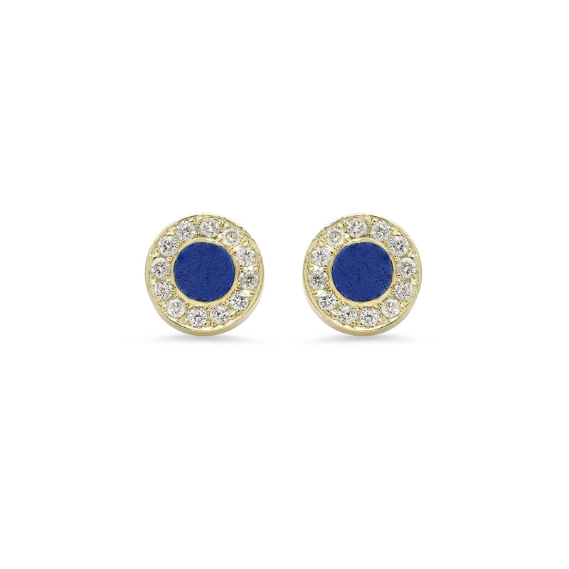 Lapis Inlay Circle Studs with Diamonds