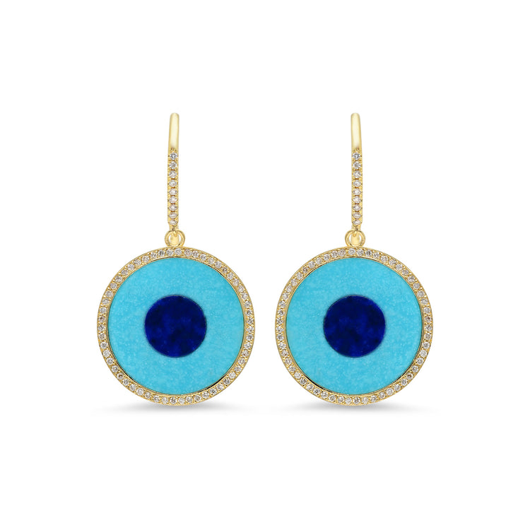 Inlay Evil Eye Drop Earrings with Diamonds
