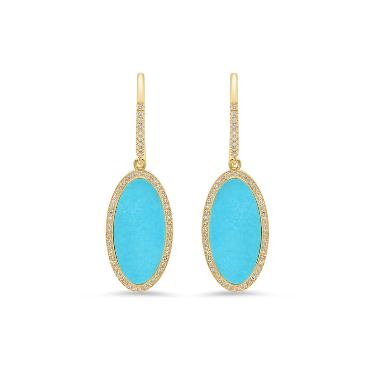 Turquoise Inlay Oval Drop Earrings with Diamonds