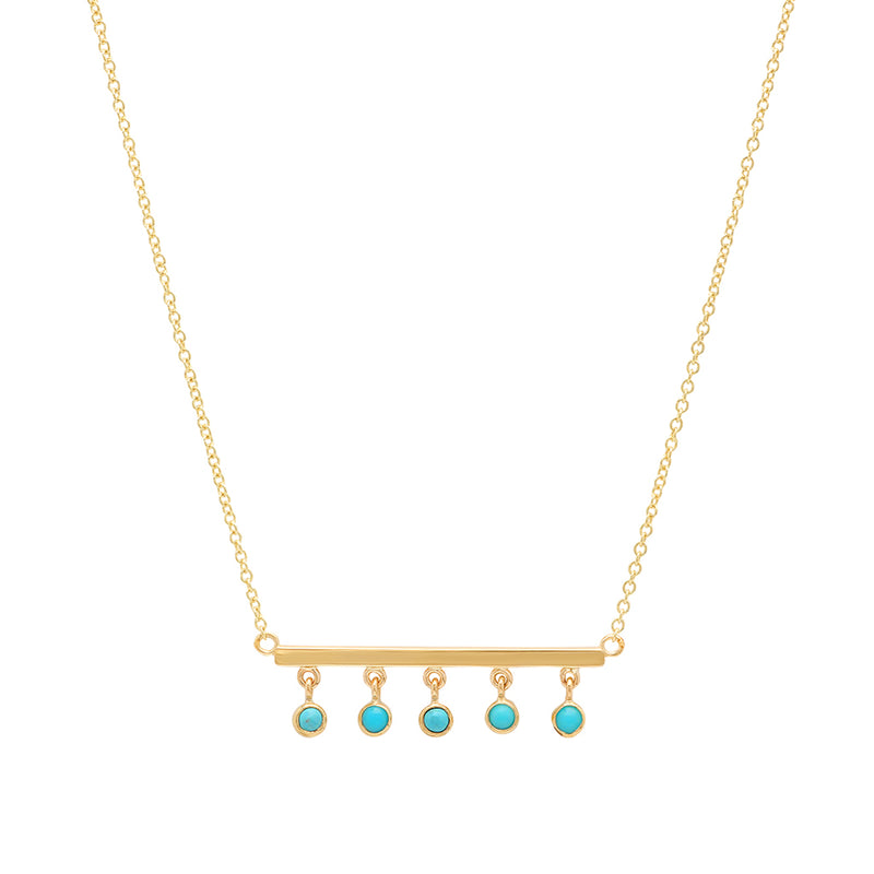 Stick with Turquoise Bezel Dangle Necklace