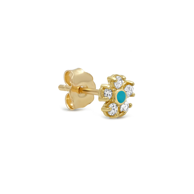 Diamond with Turquoise Center Flower Studs