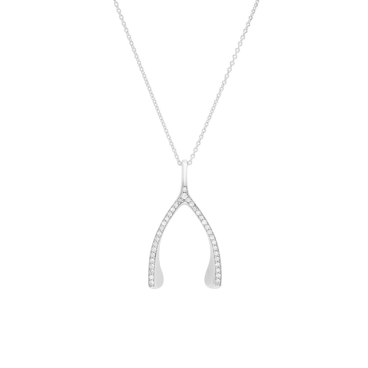 White Gold Diamond Wishbone Necklace