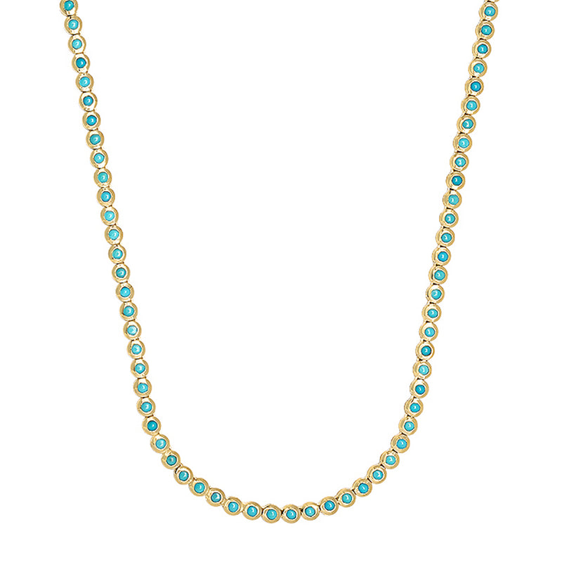 Turquoise Mini Bezel Tennis Necklace