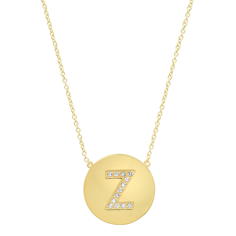 Diamond Letter Disc Necklace - Z