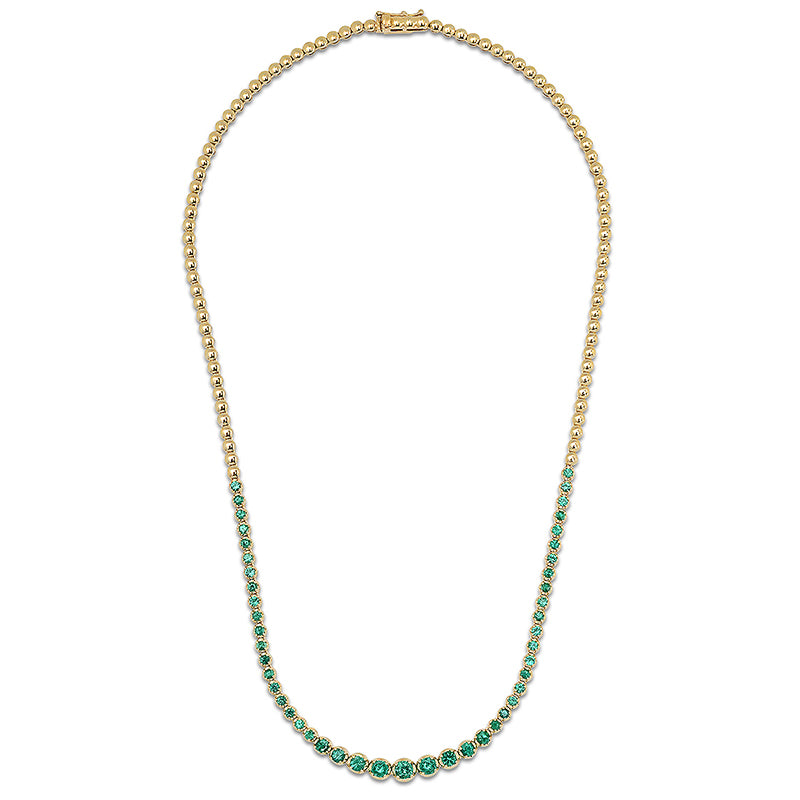 Graduated Emerald Tennis Necklace
