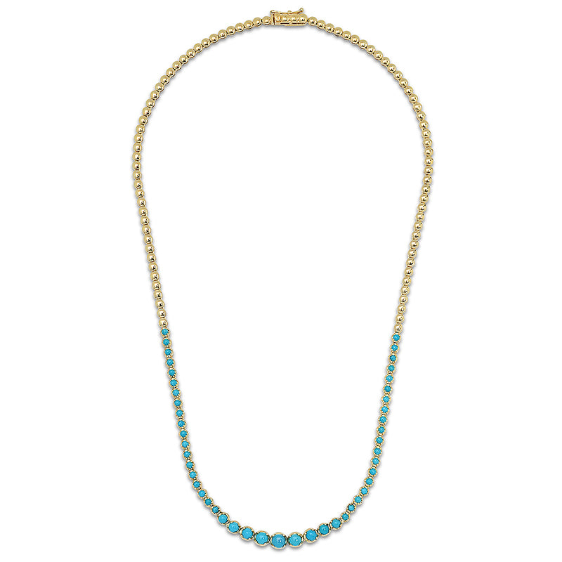 Graduated Turquoise Tennis Necklace