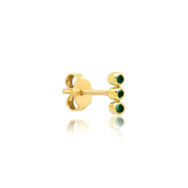 Single 3 Emerald Mini Bezel Stud