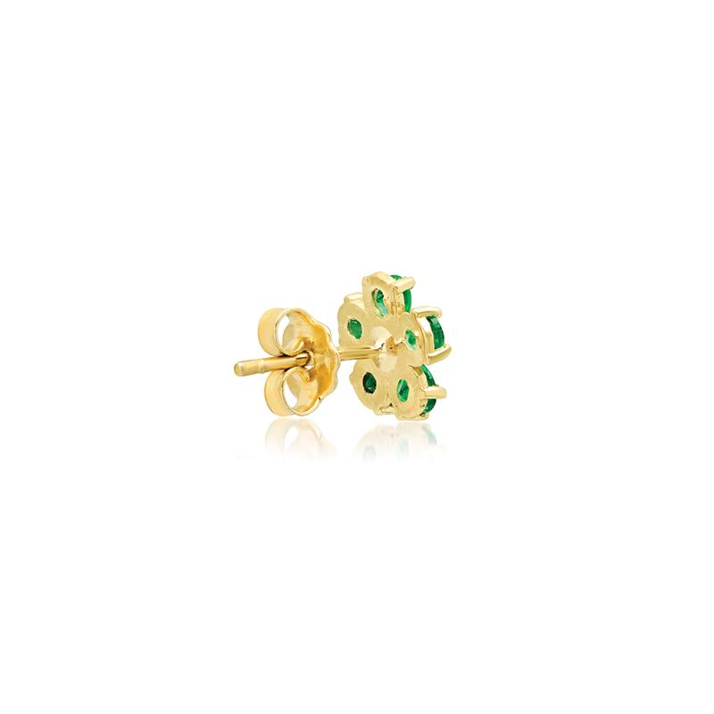 Single Emerald Large Flower Stud with Diamond Center