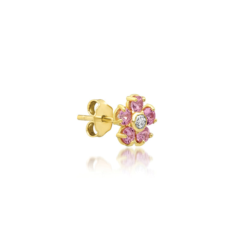 Pink Sapphire Large Flower Studs with Diamond Center