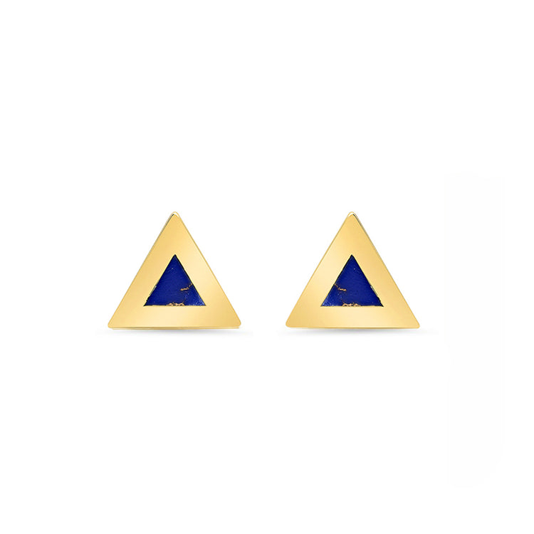 Lapis Inlay Triangle Studs
