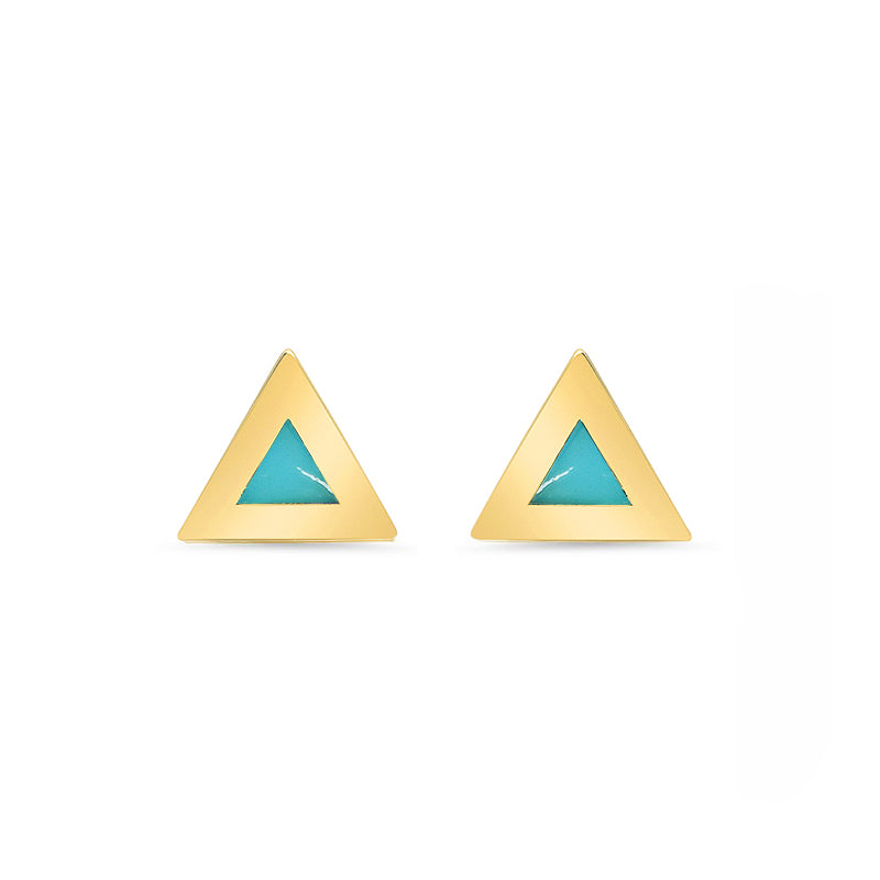 Turquoise Inlay Triangle Studs