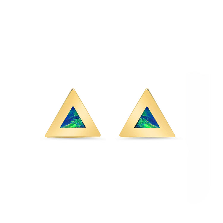 Opal Inlay Triangle Studs