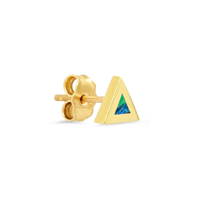 Single Opal Inlay Triangle Stud