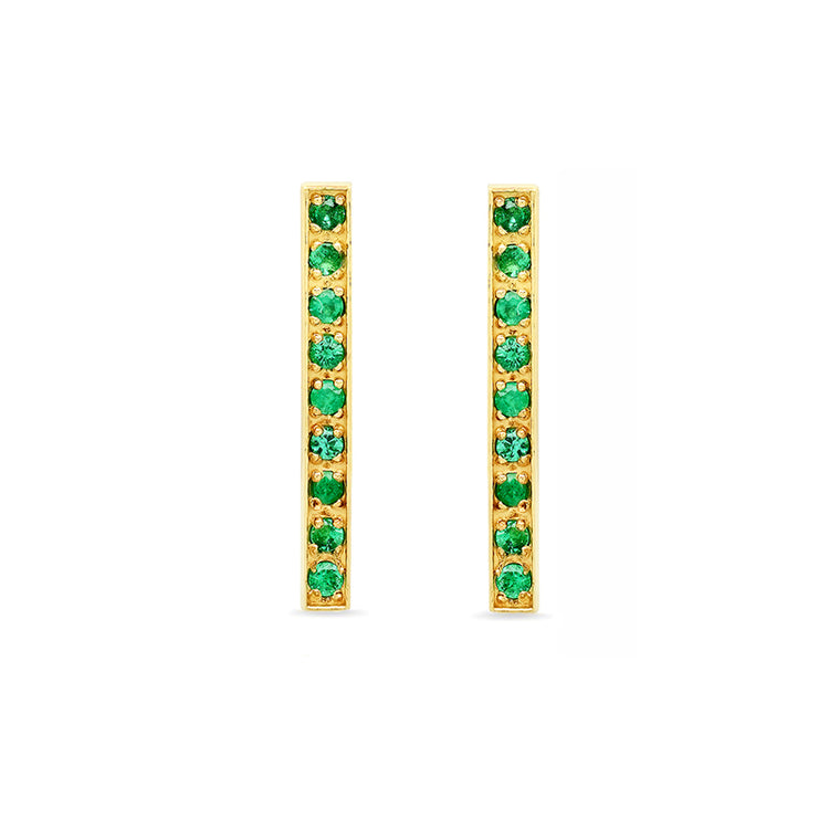 Emerald Long Bar Studs