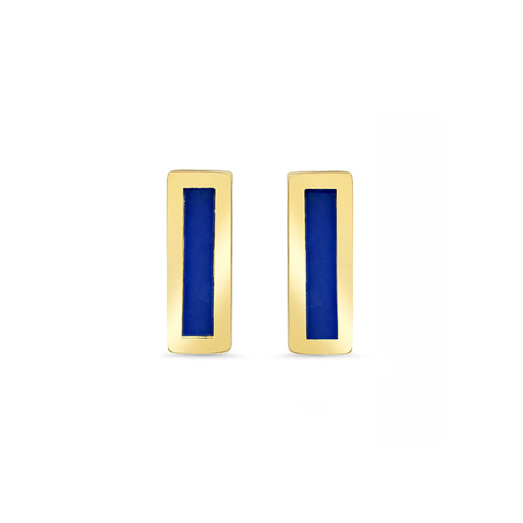 Lapis Inlay Bar Studs