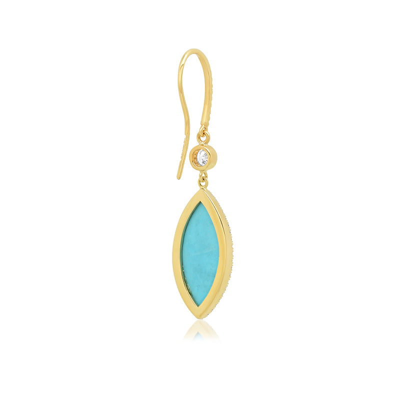 Diamond Bezel with Large Turquoise Marquise Drop Earrings