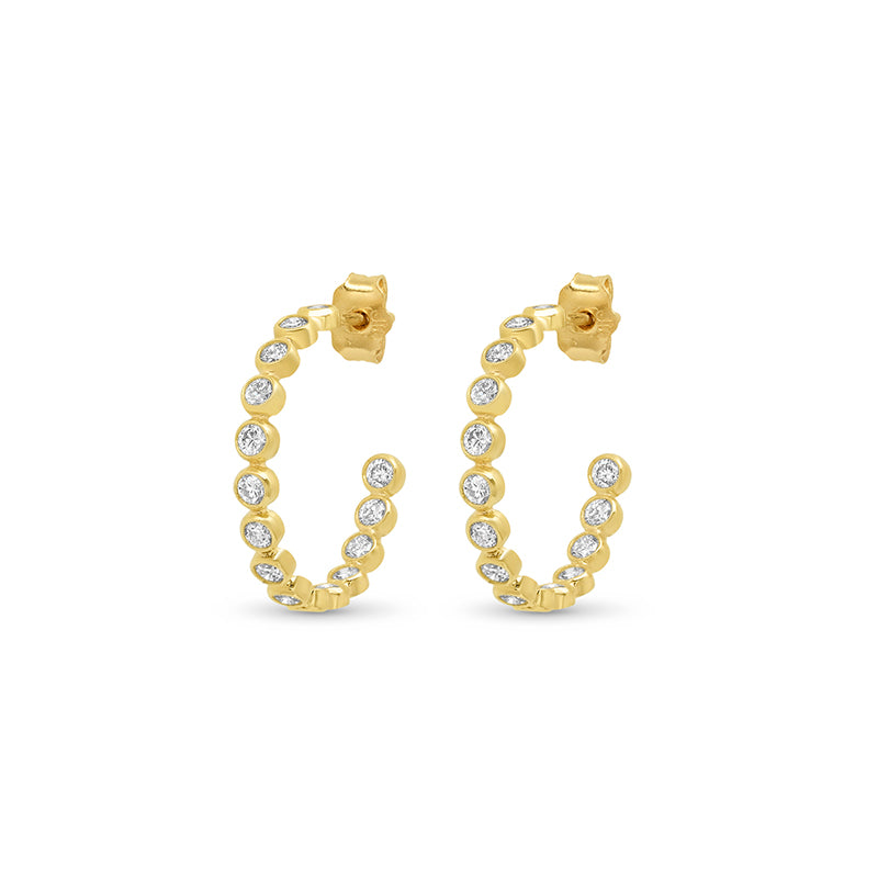 Diamond Small Bezel Hoops