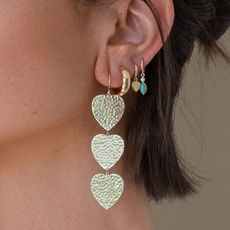 3 Hammered Heart Drop Earrings
