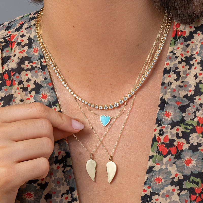 Mini Turquoise Inlay Heart Necklace