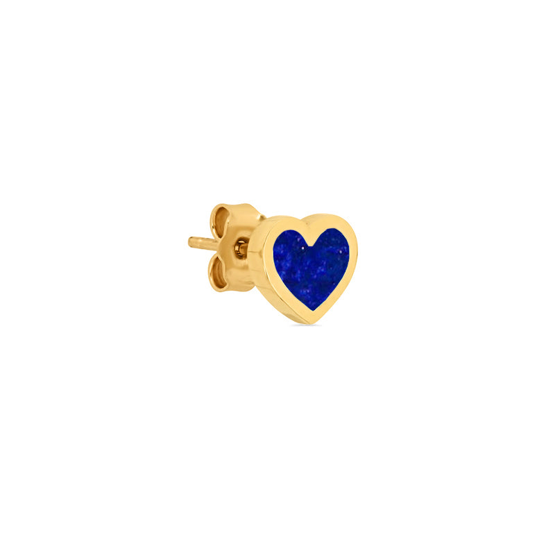 Lapis Inlay Heart Studs