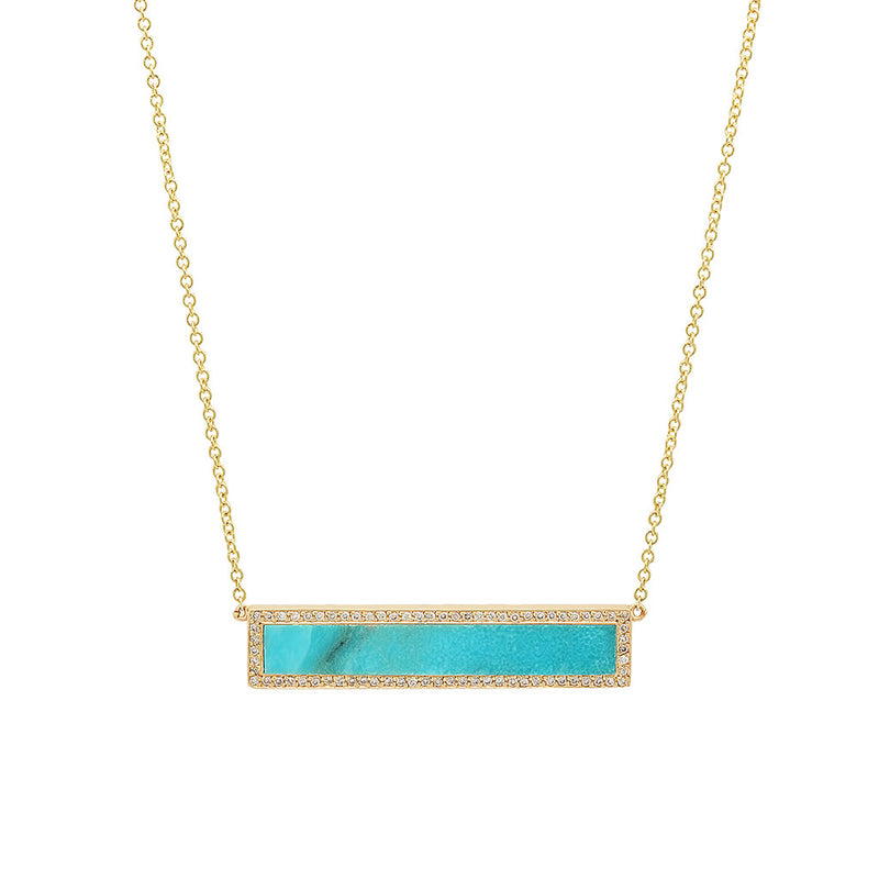 Turquoise Inlay Bar Necklace with Diamonds